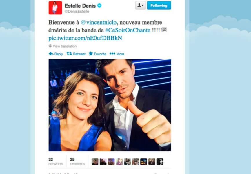 Estelle Denis contente de sa nouvelle recrue Vincent Niclo