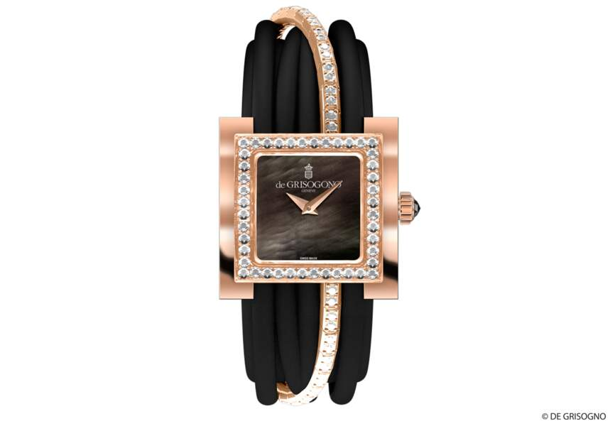 Montre en or rose sertie de diamants, nacre noire, couronne sertie d'un diamant noir, bracelet or rose et diamants