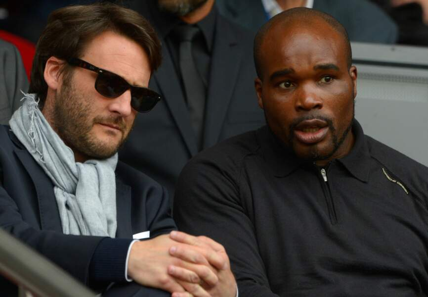 L'ancien boxeur Jean-Marc Mormeck et un ami au Parc des Princes