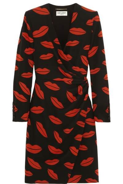 Mini-robe portefeuille en georgette de soie imprimée