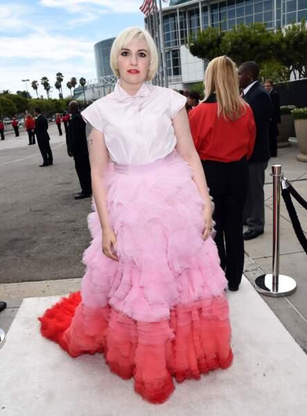 Lena Dunham en Giambattista Valli Haute Couture