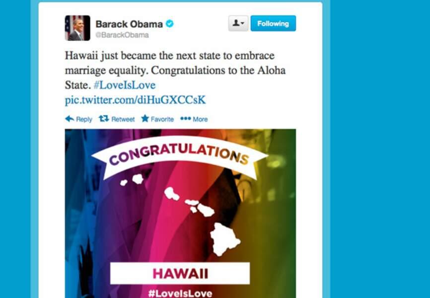 Barack Obama se félmicité que le mariage homosexuel soit légalisé à Hawaii