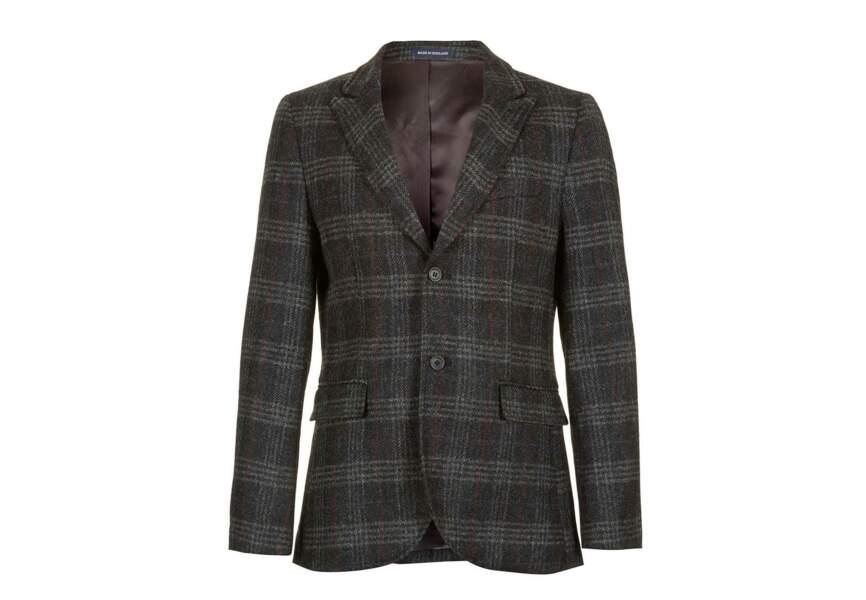 Topman – Veste de costume grise à carreaux – 190€