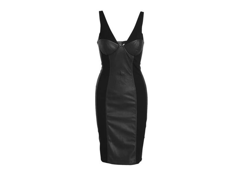 Une robe corset près du corps bi-matiéré