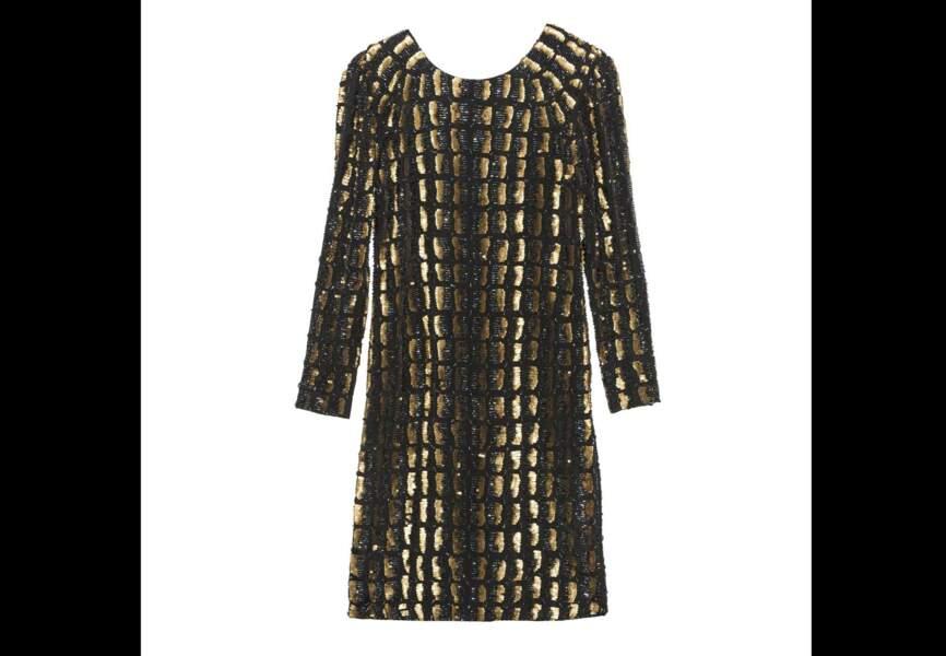 Antik Batik – Robe courte Cook Noir brodée de sequins dos nu – Soldée 202,50€