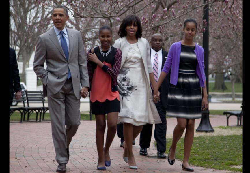 Michelle Obama et sa famille lors de la fête de Pâques à la Maison Blanche en mars 2013