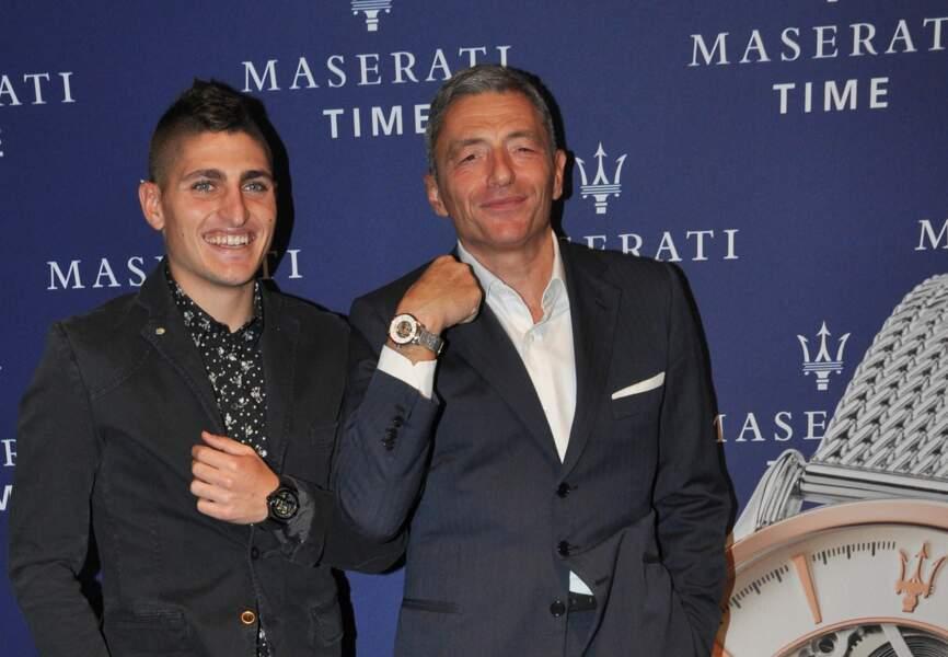 Marco Verratti et Massimo Carraro (CEO du Groupe Morellato)