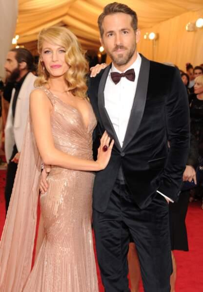 Blake Lively et Ryan Reynoldsen Gucci en Met Gala 2014