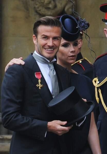 Jolie complicité pour David et Victoria alors enceinte lors des épousailles du prince William