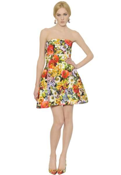 Dolce & Gabbana, robe bustier en brocart de soie et coton, 1350€