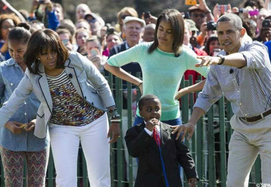 La famille Obama au premier rang