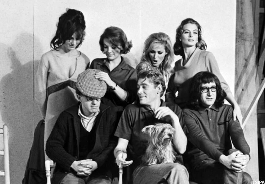 Peter O'Toole, Peter Sellers, Woody Allen sur le tournage de Quoi de neuf Pussycat en 1965