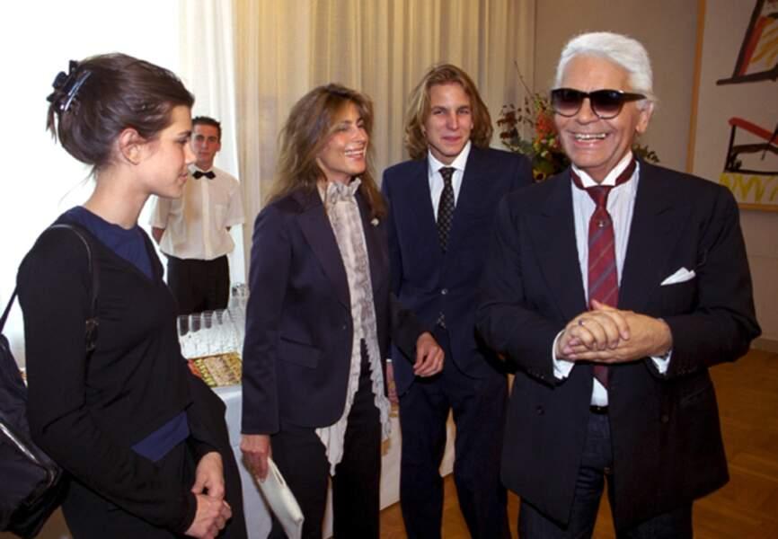 Charlotte et Andrea réunis sous l'égide du chic aux côtés de Karl Lagerfeld