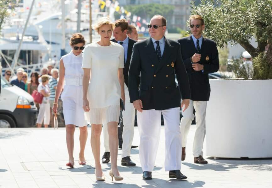 La princesse Charlène était accompagnée d'Albert II (c) Abaca