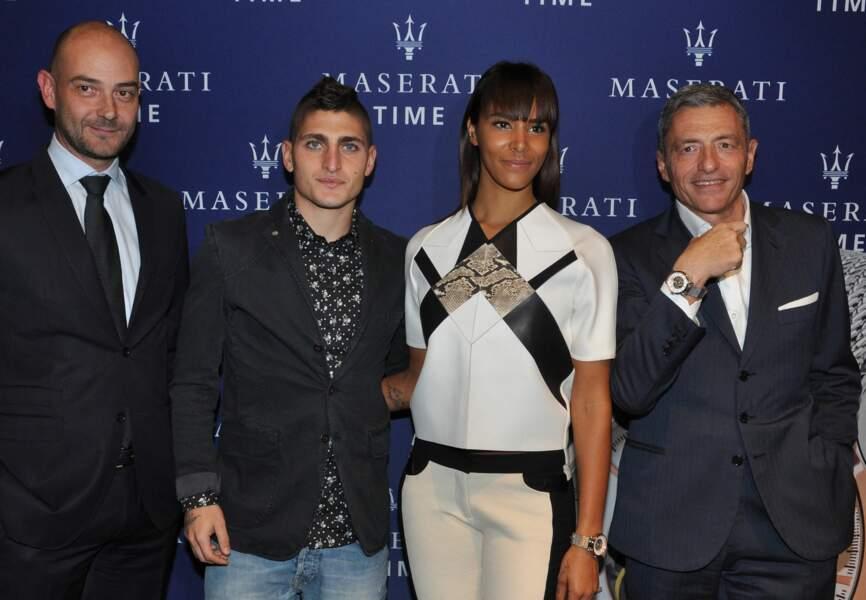 Marco Verratti et Shy'm entourés de Massimo Carraro et Guido Giovannelli