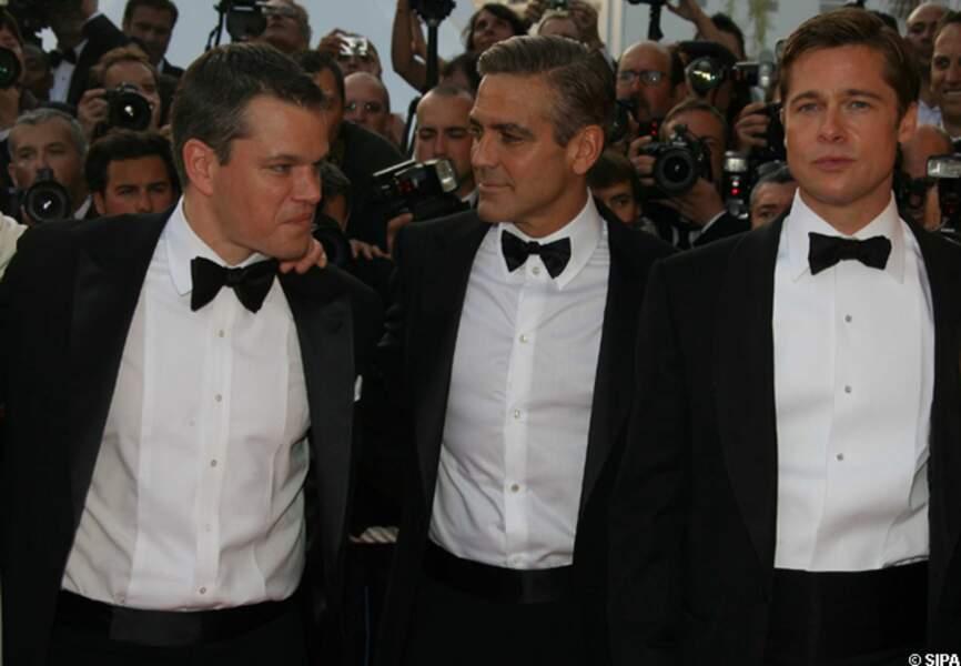 Matt Damon en 2007, pour Ocean's 13, avec George Clooney et Brad Pitt
