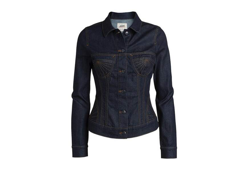 La veste en jean brodée corset