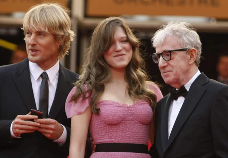 Léa Seydoux, entourée de Owen Wilson et Woody Allen en 2011 pour Midnight in Paris