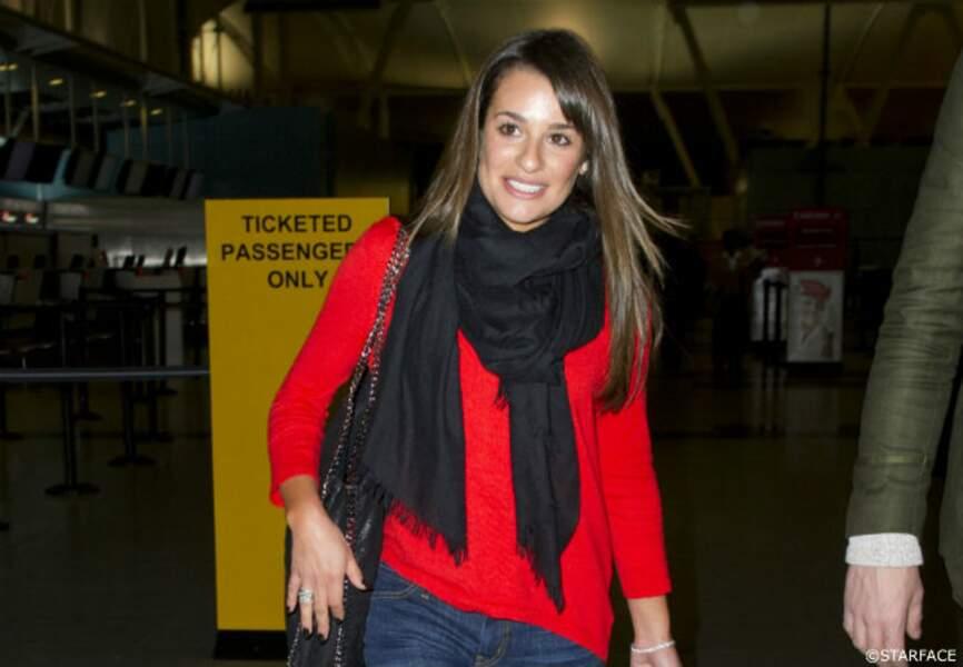 Lea Michele jour la rôle de Rachel, la petite amie de Finn dans la série Glee