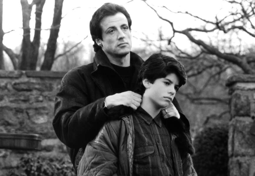 Sage Moonblood Stallone, né le 5 mai 1976, avec son père sur le tournage de Rocky V en 1990