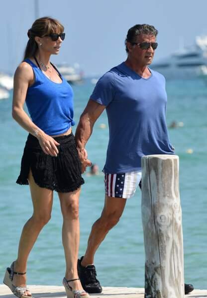 Sylvester Stallone et sa femme au Club 55 de Saint-Tropez