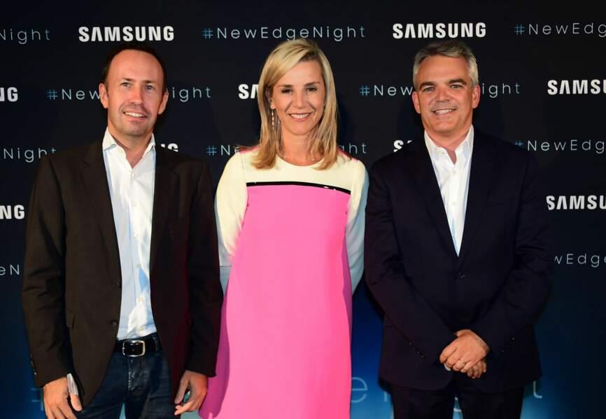 Laurence Ferrari entourée de David Eberlé&Jean-Philippe Illarine, Vice-Président Samsung Electronics
