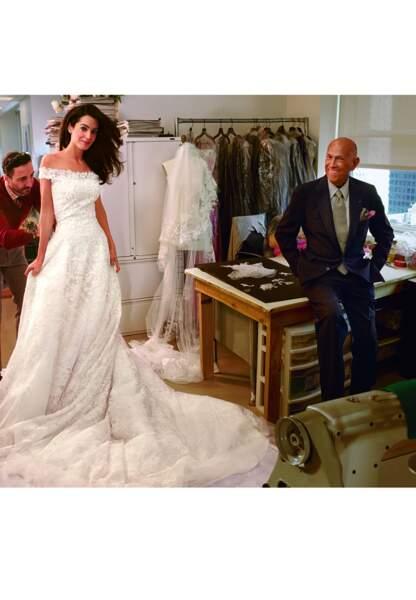 Amal Alamuddin Clooney habillée par Oscar de la Renta pour son mariage