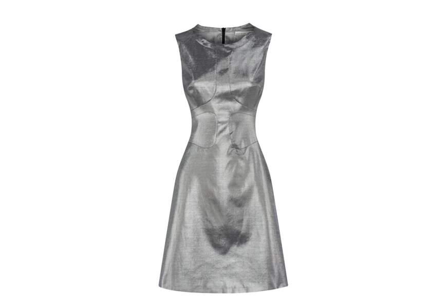 Robe métallique argentée, Karen Millen, 70€