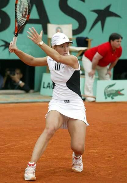Justine Henin et son top trompe-l'œil (2004)