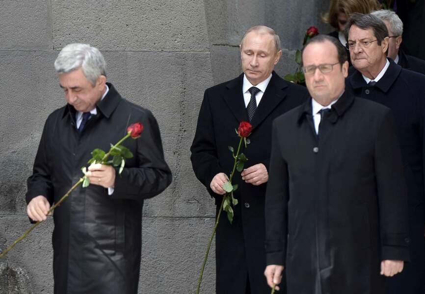 François Hollande, Vladimir Poutine et Serge Sarkissian