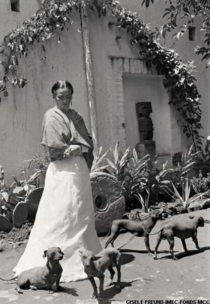 Dans le jardin de sa maison avec ses chiens