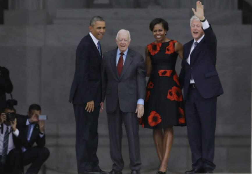 Le couple Obama, Jimmy Carter et Bill Clinton
