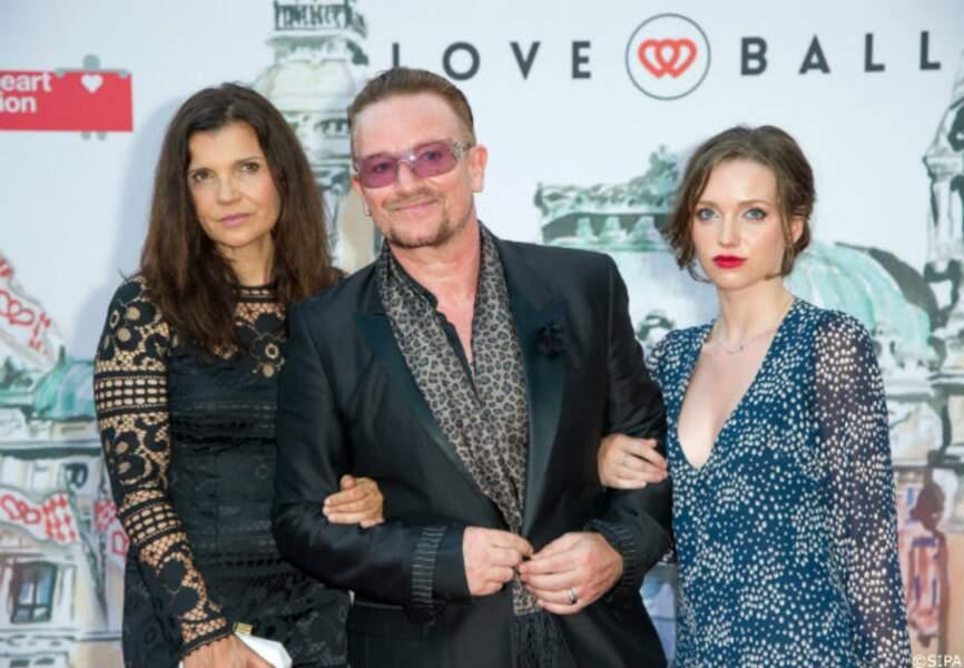 Bono accompagné de sa femme Ali Hewson et de sa fille Hewson Jordan