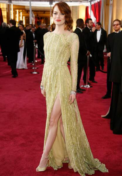 Emma Stone en Elie Saab Couture, chaussures Christian Louboutin