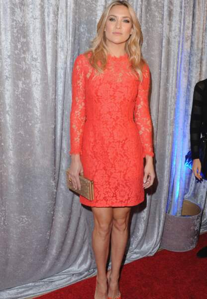 Kate Hudson, très glamour en dentelle rose Temperley London