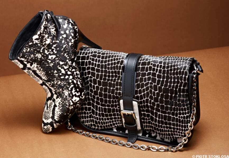 Bottines en peau, Minelli, 169 €. Sac en cuir et peau, Longchamp, 530 €