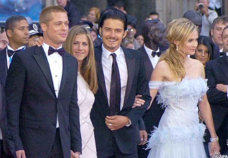 Orlando Bloom, entouré de Diane Kruger, Brad Pitt et Jennifer Aniston pour la présentation de Troie