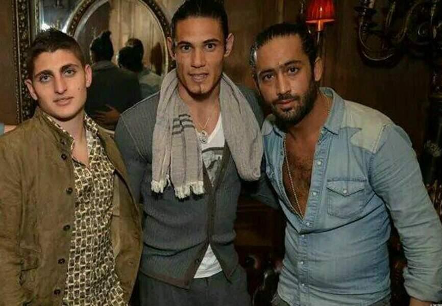Les joueurs du PSG Marco Verratti et Edinson Cavani avec Marez Sahnoune (DA du No Comment) au No Comment