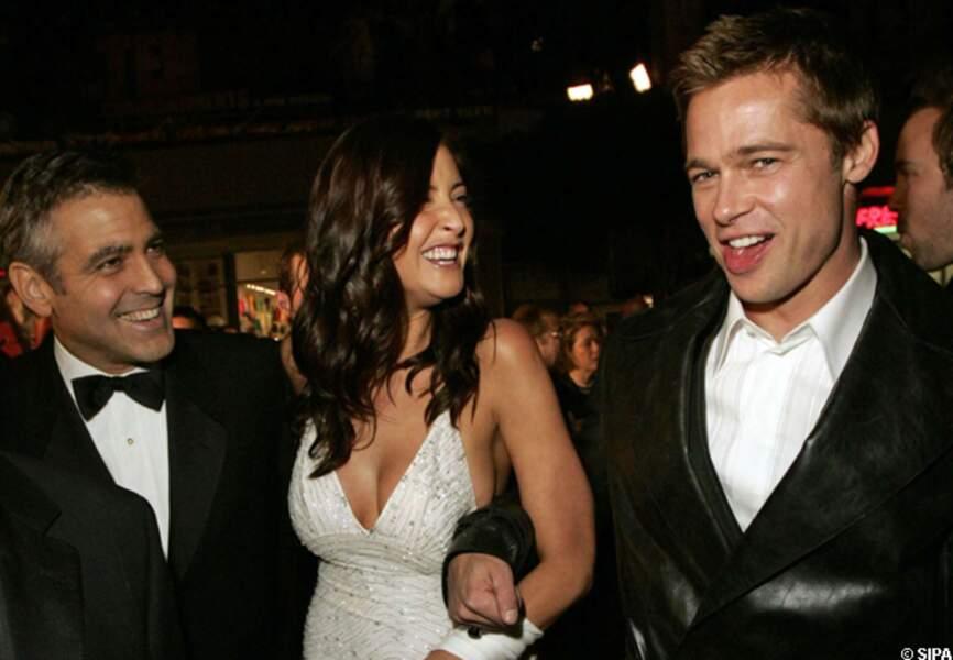 George Clooney, Lisa Snowden et Brad Pitt à l'avant-première d'Ocean's Twelve en 2004