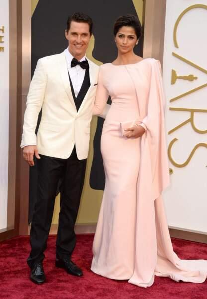 Matthew McConaughey, vainqueur de l'Oscar du meilleur acteur pour son film Dallas Buyers Club, avec Camila Alves