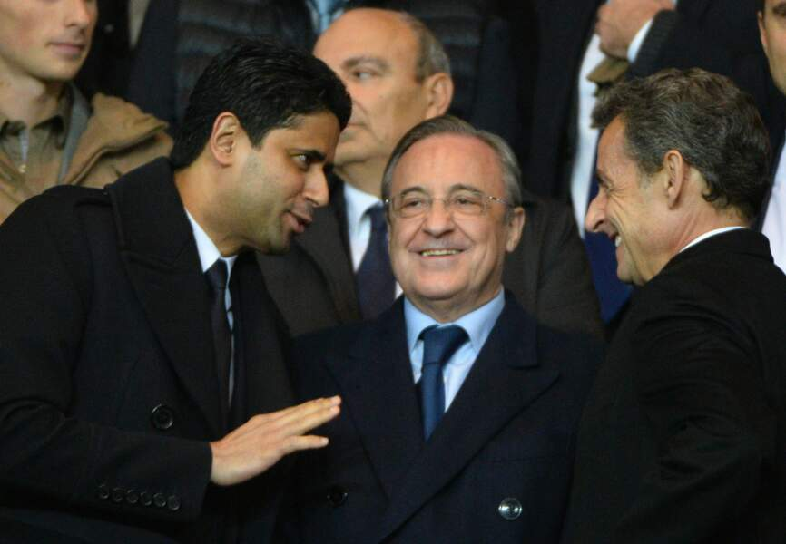Nasser Al-Khelaïfi (président du PSG), Florentino Perez (président du Real Madrid) et Nicolas Sarkozy