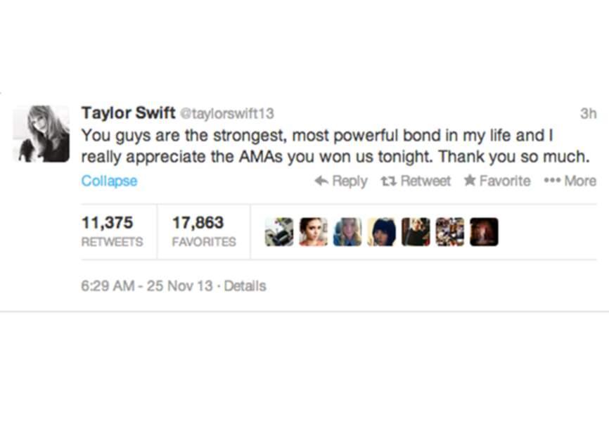 @Taylorswift a savouré sa grande victoire aux #AMA avec son public