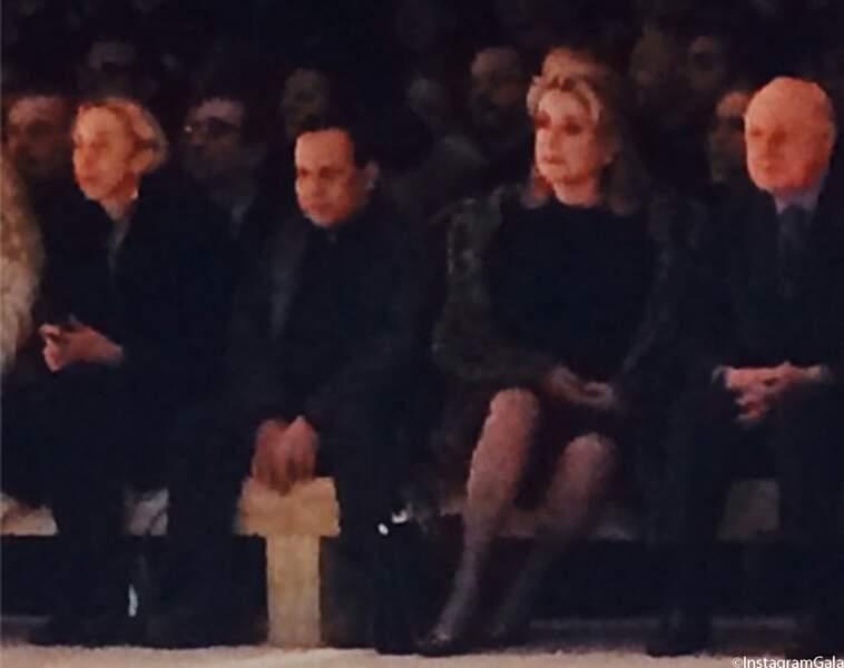 Azzedine Alaia, Cathetine Deneuve et Pierre Bergé au front row du show Saint Laurent