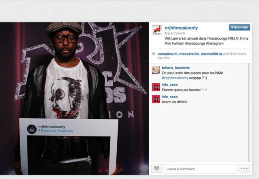 "Will I Am en mode ""Instastop"""