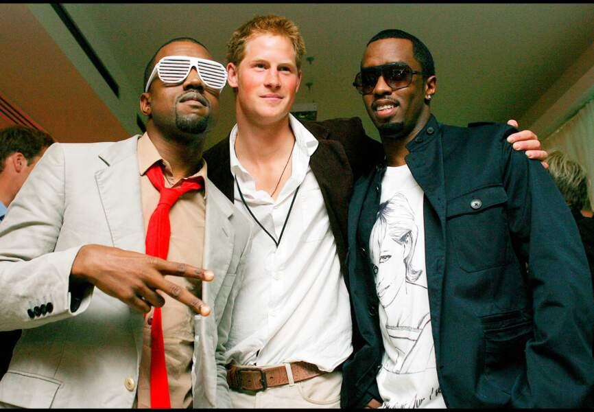 Kanye West, Harry et P.Diddy lors du concert donné en mémoire de Diana, à Wembley, en 2007