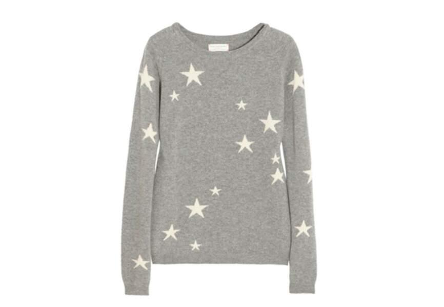 Chinti and Parker – Pull en cachemire à motif intarsia étoiles – 425€