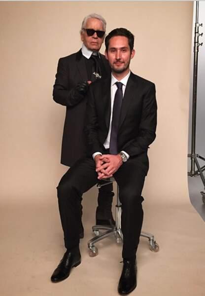Karl Lagerfeld et Kevin Systrom, co-fondateur d'Instagram