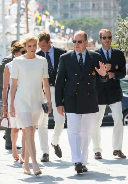 Charlène et Albert de Monaco à leur arrivée au Yacht Club de Monaco, vendredi 20 juin (c) Abaca