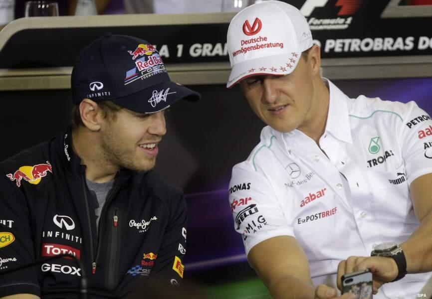 Le champion voit alors l'essor de son compatriote, Sébastien Vettel