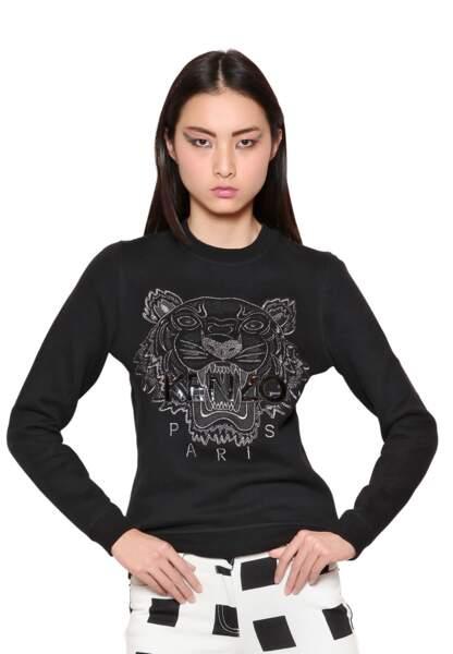 Kenzo, sweatshirt en coton avec tigre brodé, 205€